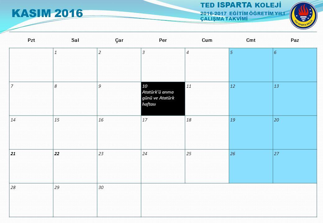 TED ISPARTA KOLEJİ 2016-2017 EĞİTİM ÖĞRETİM YILI ÇALIŞMA TAKVİMİ PztSalÇarPerCumCmtPaz 123456 78910 Atatürk'ü anma günü ve Atatürk haftası 111213 1415