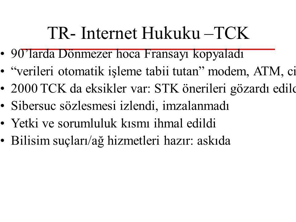"""TR- Internet Hukuku –TCK 90'larda Dönmezer hoca Fransayı kopyaladı """"verileri otomatik işleme tabii tutan"""" modem, ATM, cine5 2000 TCK da eksikler var:"""