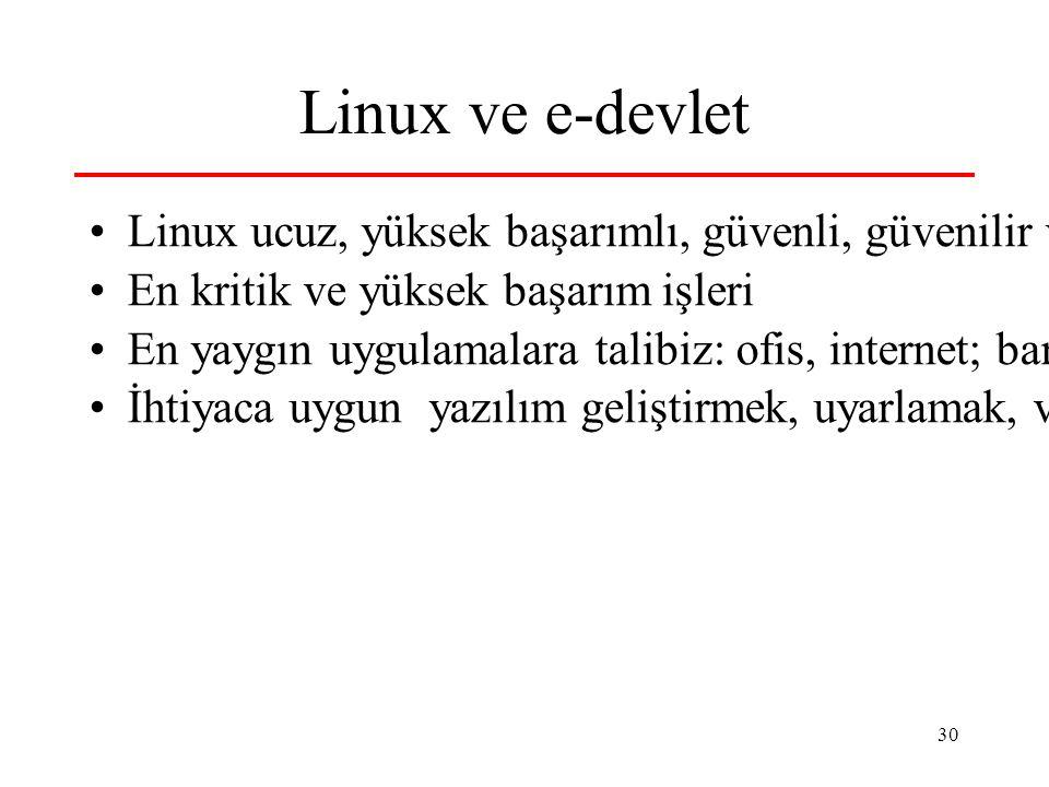 30 Linux ve e-devlet Linux ucuz, yüksek başarımlı, güvenli, güvenilir ve dolayısıyla verimli alternatif En kritik ve yüksek başarım işleri En yaygın u