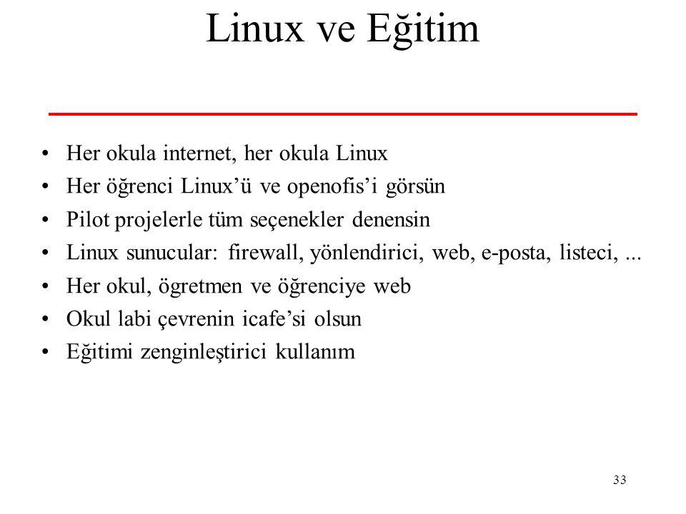 33 Linux ve Eğitim Her okula internet, her okula Linux Her öğrenci Linux'ü ve openofis'i görsün Pilot projelerle tüm seçenekler denensin Linux sunucul