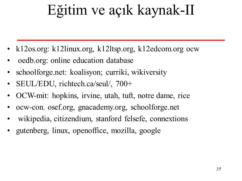 35 Eğitim ve açık kaynak-II k12os.org: k12linux.org, k12ltsp.org, k12edcom.org ocw oedb.org: online education database schoolforge.net: koalisyon; cur