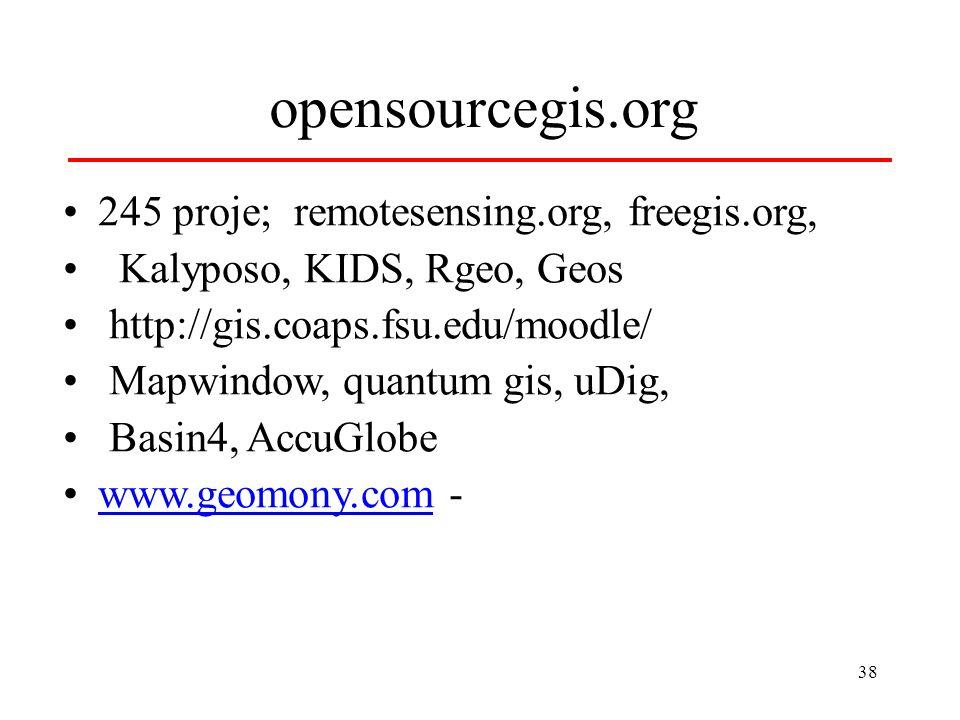38 opensourcegis.org 245 proje; remotesensing.org, freegis.org, Kalyposo, KIDS, Rgeo, Geos http://gis.coaps.fsu.edu/moodle/ Mapwindow, quantum gis, uD
