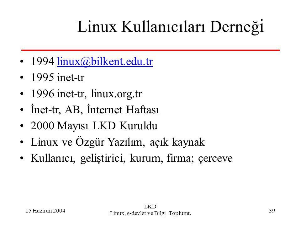 15 Haziran 2004 LKD Linux, e-devlet ve Bilgi Toplumu 39 Linux Kullanıcıları Derneğ i 1994 linux@bilkent.edu.trlinux@bilkent.edu.tr 1995 inet-tr 1996 i