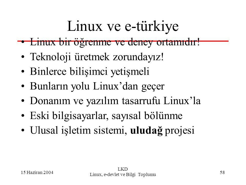 15 Haziran 2004 LKD Linux, e-devlet ve Bilgi Toplumu 58 Linux ve e-türkiye Linux bir öğrenme ve deney ortamıdır! Teknoloji üretmek zorundayız! Binlerc