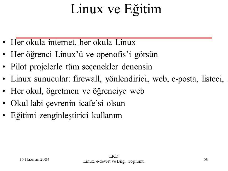 15 Haziran 2004 LKD Linux, e-devlet ve Bilgi Toplumu 59 Linux ve Eğitim Her okula internet, her okula Linux Her öğrenci Linux'ü ve openofis'i görsün P