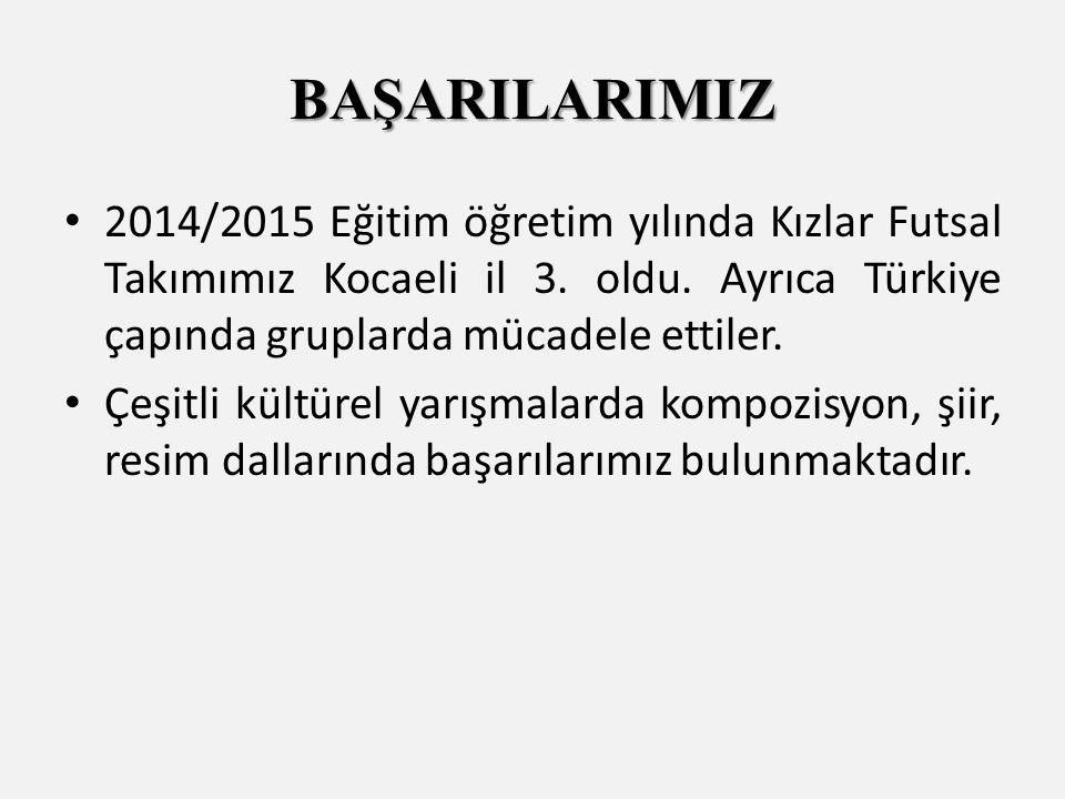 2014/2015 Eğitim öğretim yılında Kızlar Futsal Takımımız Kocaeli il 3.