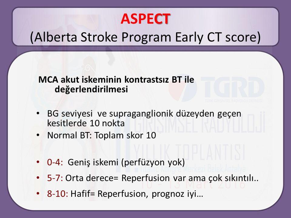 CT ASPECT (Alberta Stroke Program Early CT score) MCA akut iskeminin kontrastsız BT ile değerlendirilmesi BG seviyesi ve supraganglionik düzeyden geçen kesitlerde 10 nokta Normal BT: Toplam skor 10 0-4: Geniş iskemi (perfüzyon yok) 5-7: Orta derece= Reperfusion var ama çok sıkıntılı..