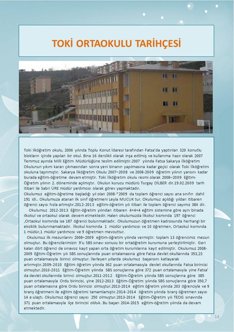 TOKİ ORTAOKULU TARİHÇESİ 14 Toki ilköğretim okulu, 2006 yılında Toplu Konut İdaresi tarafından Fatsa'da yaptırılan 320 konutlu blokların içinde yapılan bir okul.