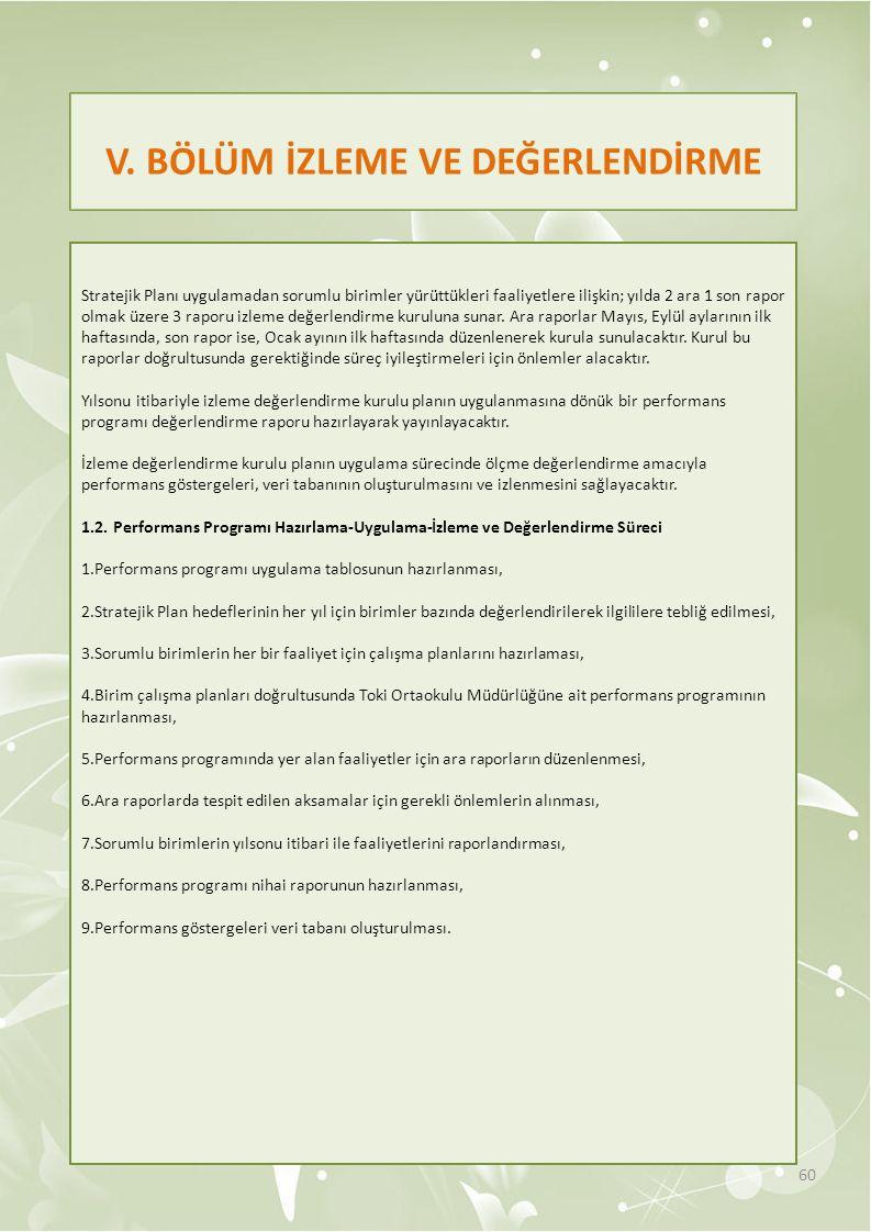 V. BÖLÜM İZLEME VE DEĞERLENDİRME Stratejik Planı uygulamadan sorumlu birimler yürüttükleri faaliyetlere ilişkin; yılda 2 ara 1 son rapor olmak üzere 3
