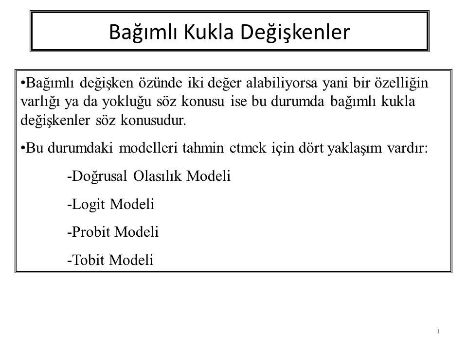 Doğrusal Olasılık Modeli 2 Y i = b 1 + b 2 X i +u i Y i = 1Eğer i.