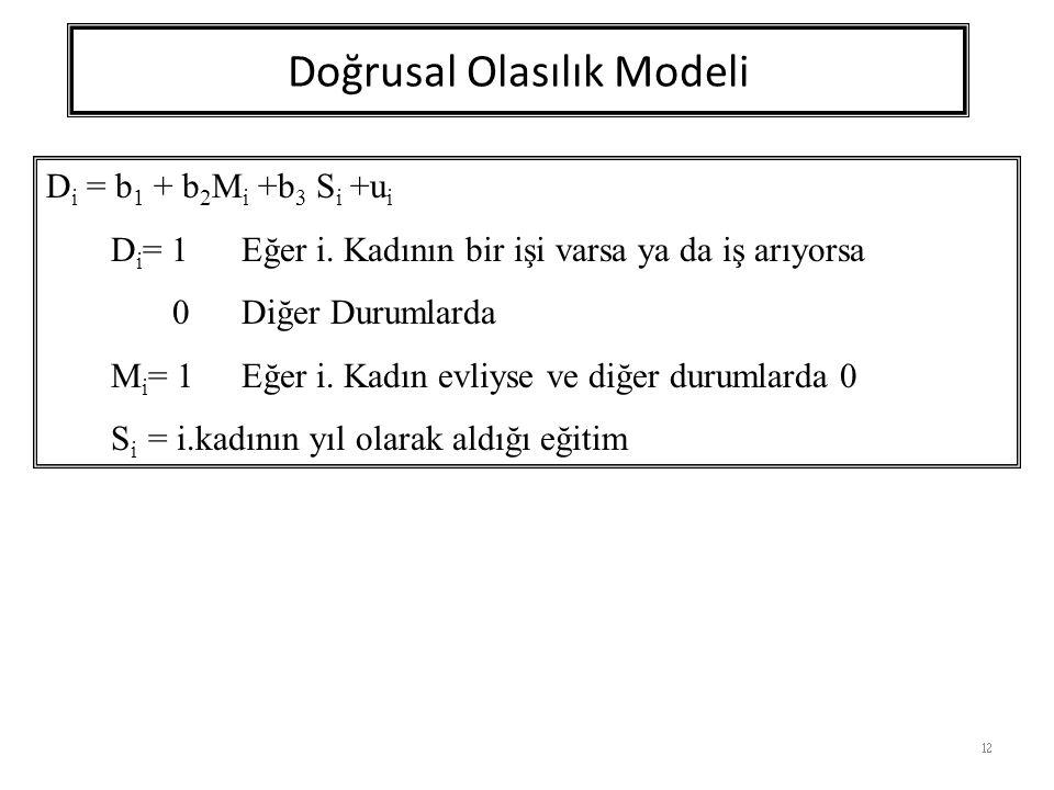 Doğrusal Olasılık Modeli 12 D i = b 1 + b 2 M i +b 3 S i +u i D i = 1Eğer i.