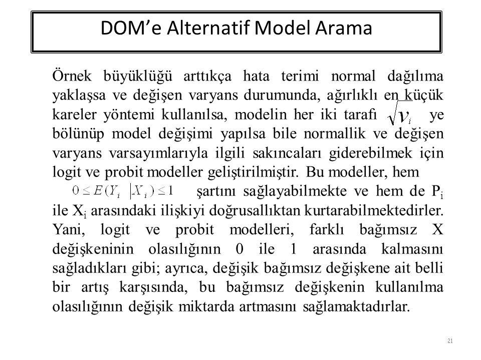 21 Örnek büyüklüğü arttıkça hata terimi normal dağılıma yaklaşsa ve değişen varyans durumunda, ağırlıklı en küçük kareler yöntemi kullanılsa, modelin her iki tarafı ye bölünüp model değişimi yapılsa bile normallik ve değişen varyans varsayımlarıyla ilgili sakıncaları giderebilmek için logit ve probit modeller geliştirilmiştir.