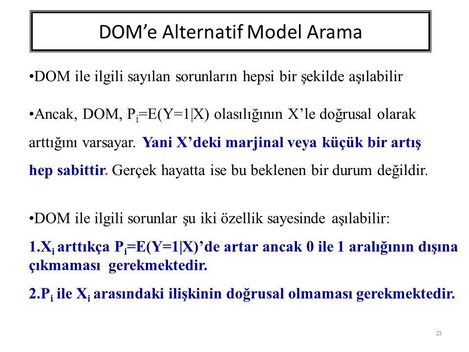 DOM'e Alternatif Model Arama 23 DOM ile ilgili sayılan sorunların hepsi bir şekilde aşılabilir Ancak, DOM, P i =E(Y=1|X) olasılığının X'le doğrusal olarak arttığını varsayar.