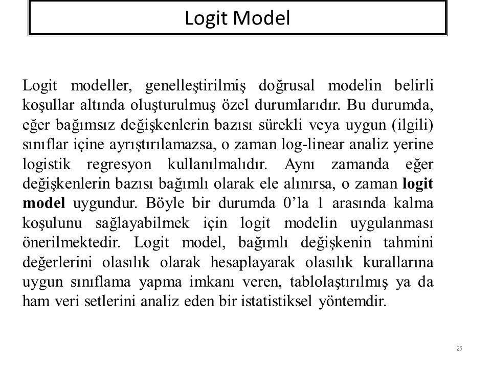 Logit Model 25 Logit modeller, genelleştirilmiş doğrusal modelin belirli koşullar altında oluşturulmuş özel durumlarıdır.