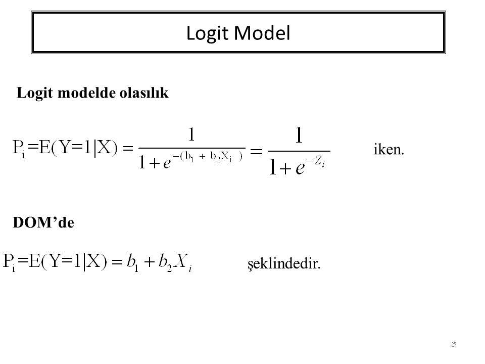Logit Model 27 DOM'de şeklindedir. Logit modelde olasılık iken.