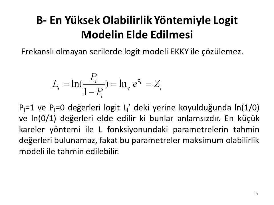 B- En Yüksek Olabilirlik Yöntemiyle Logit Modelin Elde Edilmesi 39 Frekanslı olmayan serilerde logit modeli EKKY ile çözülemez.