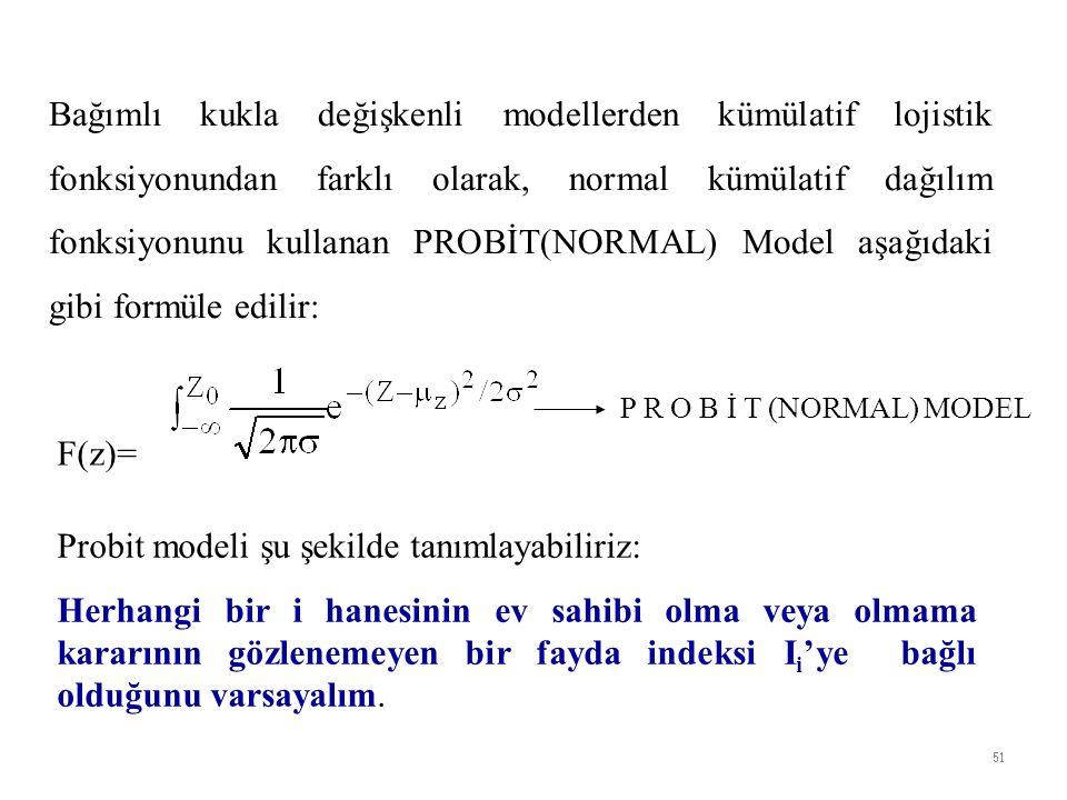 Bağımlı kukla değişkenli modellerden kümülatif lojistik fonksiyonundan farklı olarak, normal kümülatif dağılım fonksiyonunu kullanan PROBİT(NORMAL) Model aşağıdaki gibi formüle edilir: F(z)= P R O B İ T (NORMAL) MODEL Probit modeli şu şekilde tanımlayabiliriz: Herhangi bir i hanesinin ev sahibi olma veya olmama kararının gözlenemeyen bir fayda indeksi I i 'ye bağlı olduğunu varsayalım.