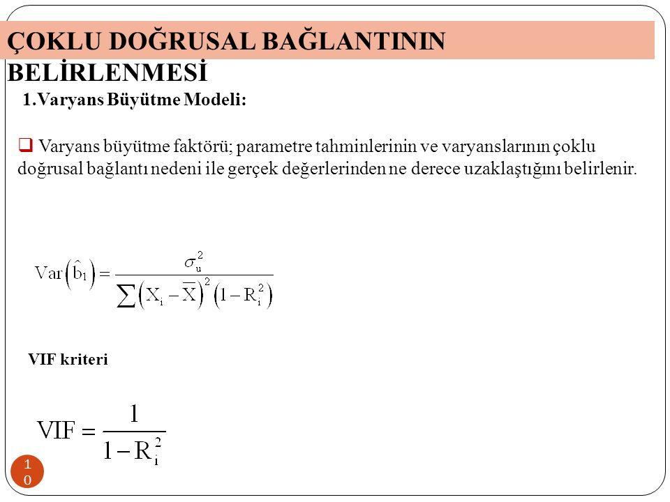 9 Varyans Büyütme Modeli Yardımcı Regresyon Modelleri için F testi Klein – Kriteri Şartlı Sayı Kriteri Theil-m Ölçüsü ÇOKLU DOĞRUSAL BAĞLANTININ VARLIĞININ BELİRLENMESİ