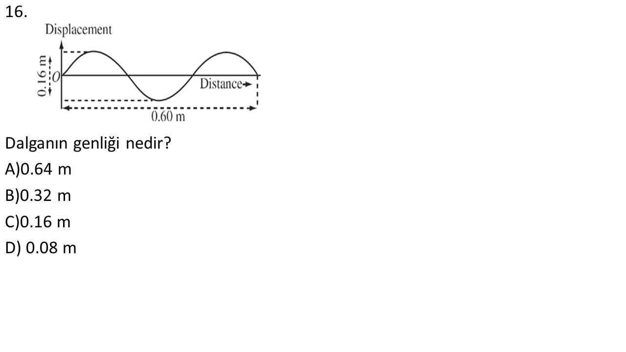 16. Dalganın genliği nedir A)0.64 m B)0.32 m C)0.16 m D) 0.08 m