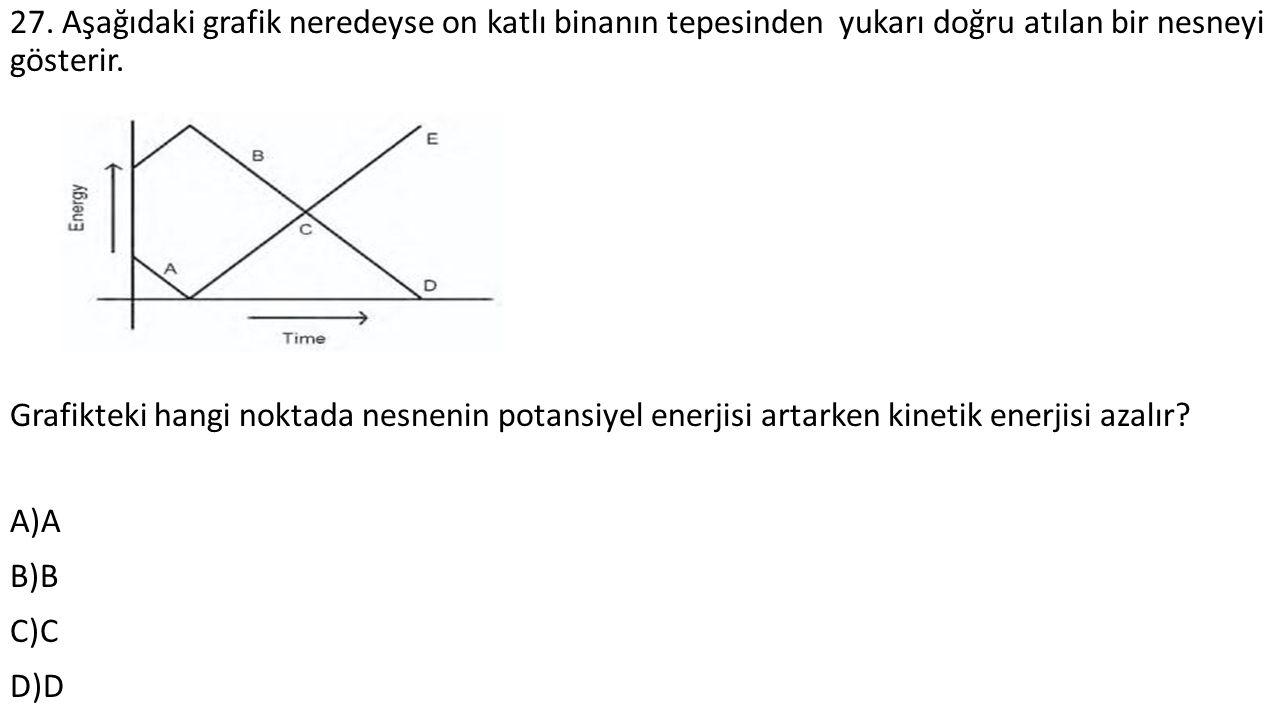 27. Aşağıdaki grafik neredeyse on katlı binanın tepesinden yukarı doğru atılan bir nesneyi gösterir. Grafikteki hangi noktada nesnenin potansiyel ener