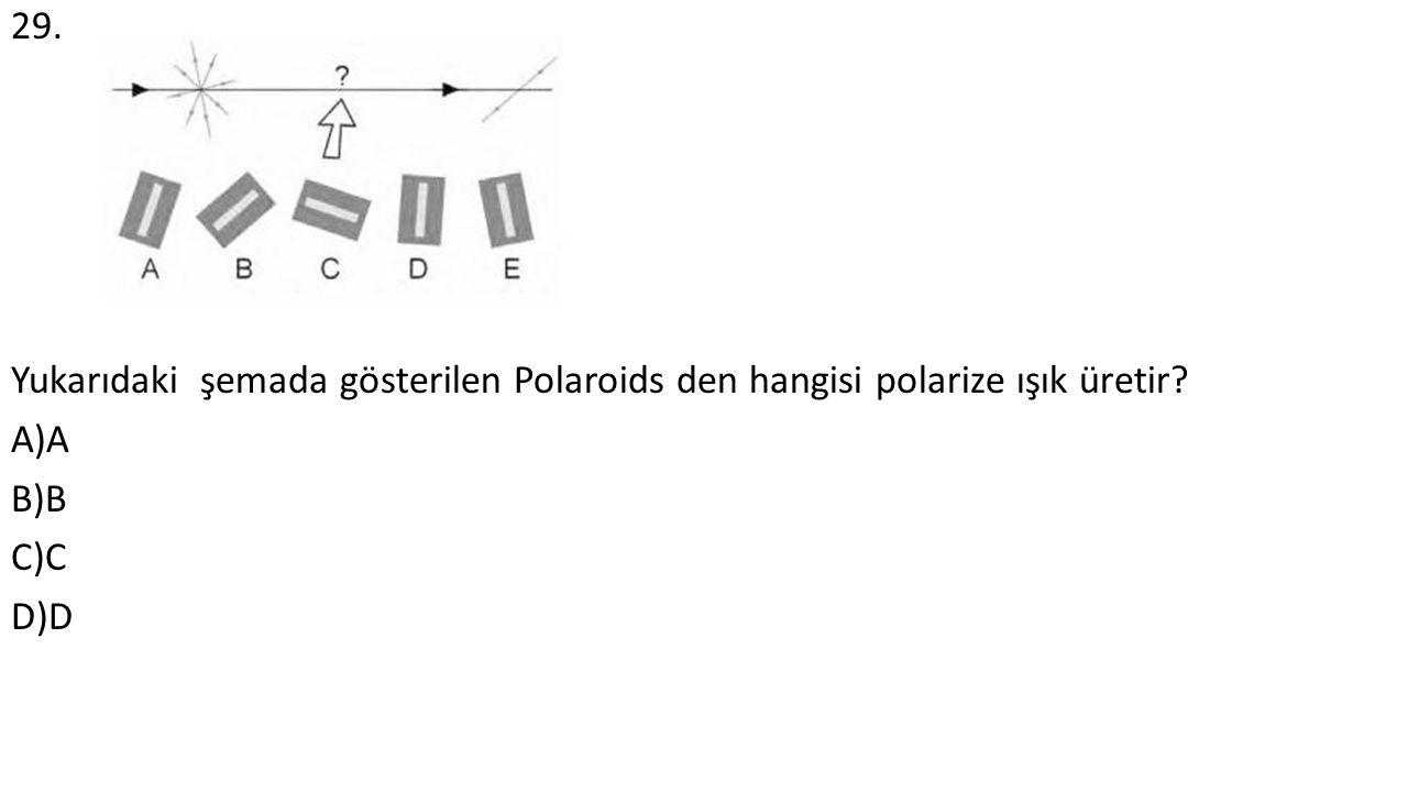 29. Yukarıdaki şemada gösterilen Polaroids den hangisi polarize ışık üretir A)A B)B C)C D)D
