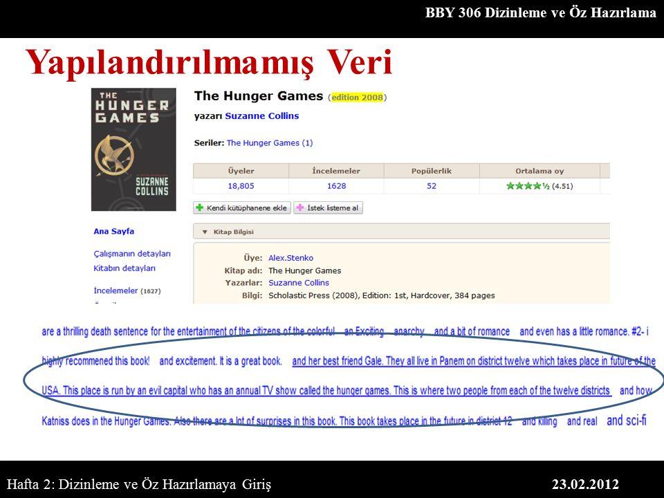 BBY 306 Dizinleme ve Öz Hazırlama 23.02.2012 Yapılandırılmamış Veri Hafta 2: Dizinleme ve Öz Hazırlamaya Giriş