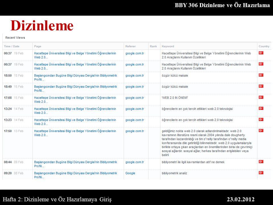 BBY 306 Dizinleme ve Öz Hazırlama 23.02.2012 Dizinleme Hafta 2: Dizinleme ve Öz Hazırlamaya Giriş
