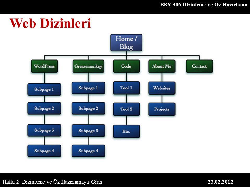 BBY 306 Dizinleme ve Öz Hazırlama 23.02.2012 Web Dizinleri Hafta 2: Dizinleme ve Öz Hazırlamaya Giriş