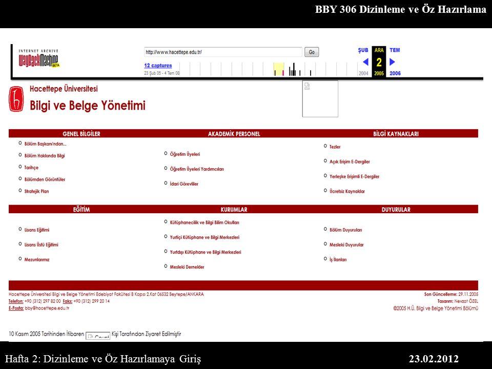 BBY 306 Dizinleme ve Öz Hazırlama 23.02.2012Hafta 2: Dizinleme ve Öz Hazırlamaya Giriş
