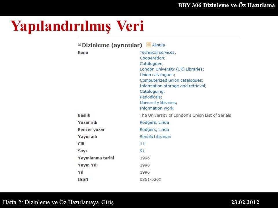 BBY 306 Dizinleme ve Öz Hazırlama 23.02.2012 Yapılandırılmış Veri Hafta 2: Dizinleme ve Öz Hazırlamaya Giriş