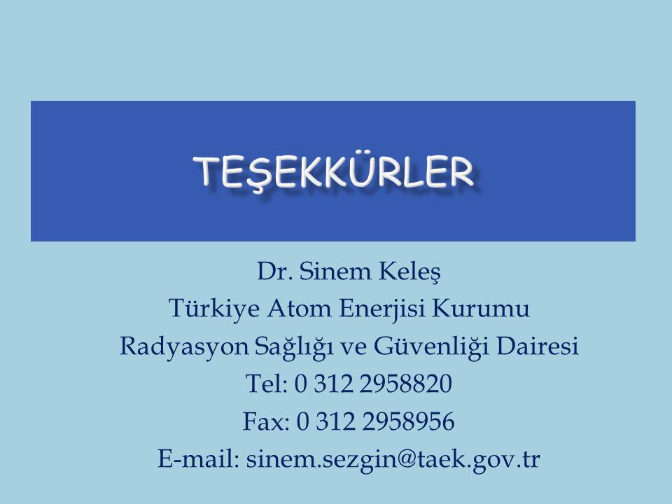 Dr. Sinem Keleş Türkiye Atom Enerjisi Kurumu Radyasyon Sağlığı ve Güvenliği Dairesi Tel: 0 312 2958820 Fax: 0 312 2958956 E-mail: sinem.sezgin@taek.go