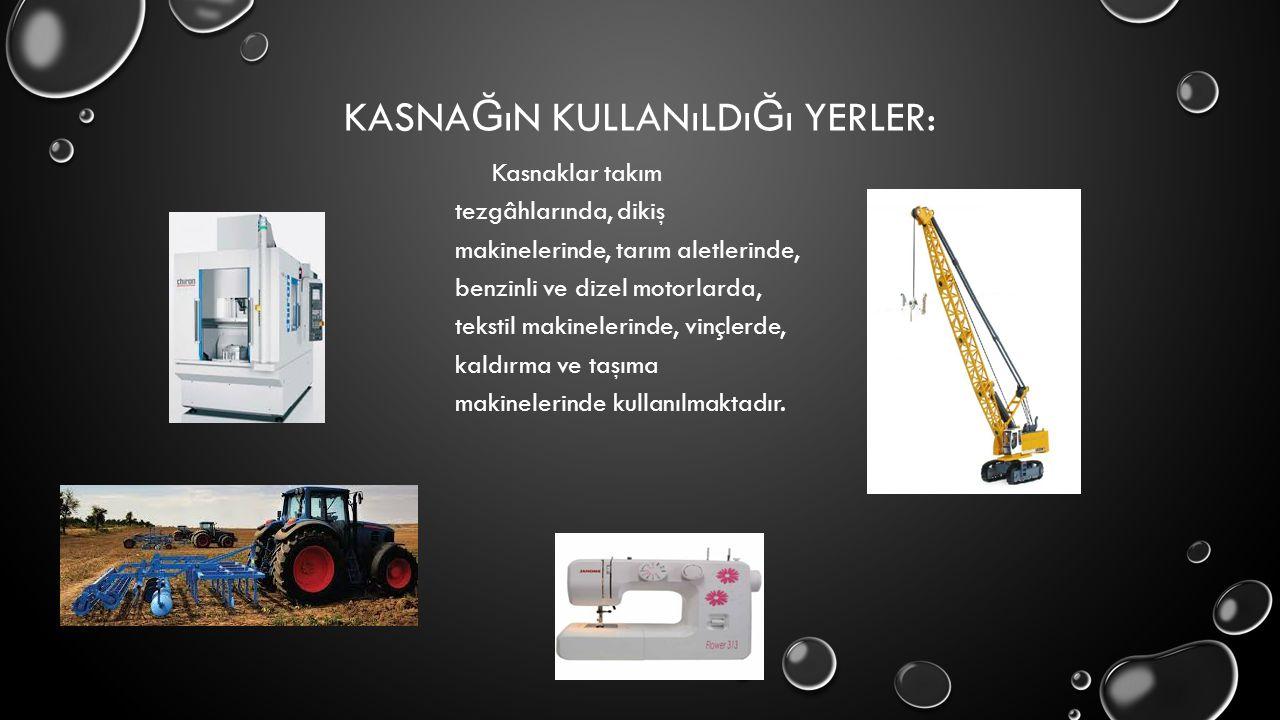 KASNA Ğ ıN KULLANıLDı Ğ ı YERLER: Kasnaklar takım tezgâhlarında, dikiş makinelerinde, tarım aletlerinde, benzinli ve dizel motorlarda, tekstil makinel
