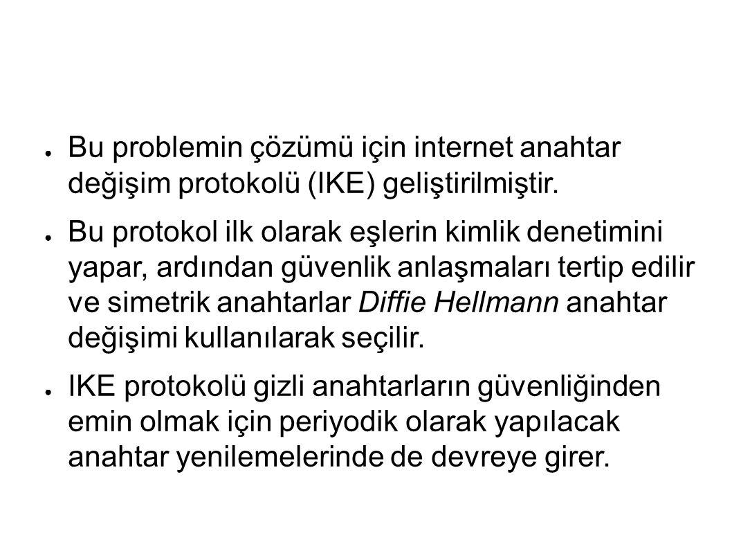 ● Bu problemin çözümü için internet anahtar değişim protokolü (IKE) geliştirilmiştir.