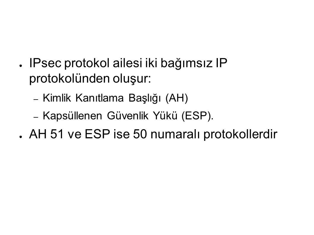 ● IPsec protokol ailesi iki bağımsız IP protokolünden oluşur: – Kimlik Kanıtlama Başlığı (AH) – Kapsüllenen Güvenlik Yükü (ESP).