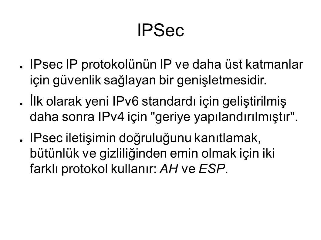 ● IPsec IP protokolünün IP ve daha üst katmanlar için güvenlik sağlayan bir genişletmesidir.