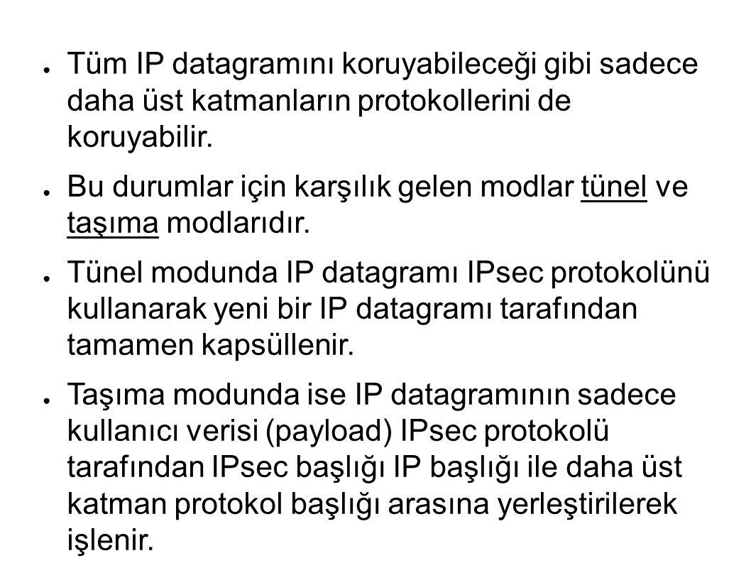 ● Tüm IP datagramını koruyabileceği gibi sadece daha üst katmanların protokollerini de koruyabilir.