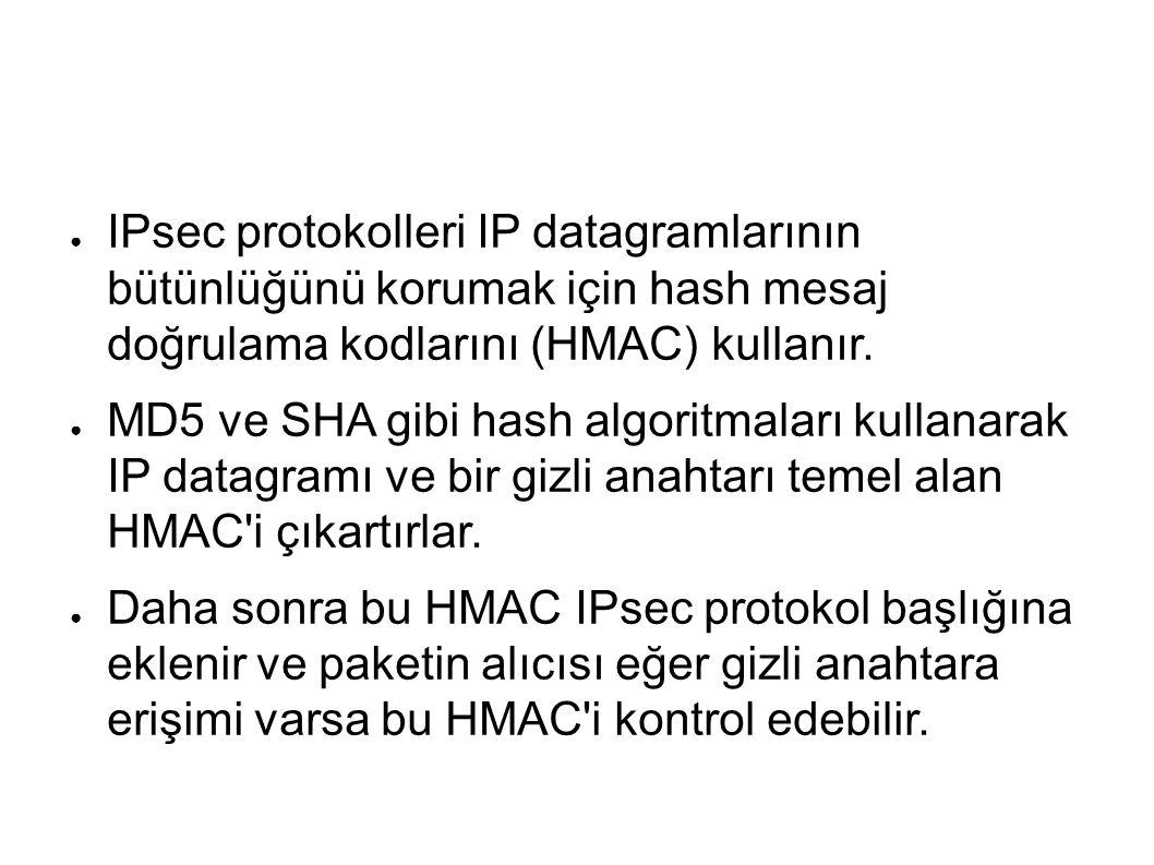 ● IPsec protokolleri IP datagramlarının bütünlüğünü korumak için hash mesaj doğrulama kodlarını (HMAC) kullanır.