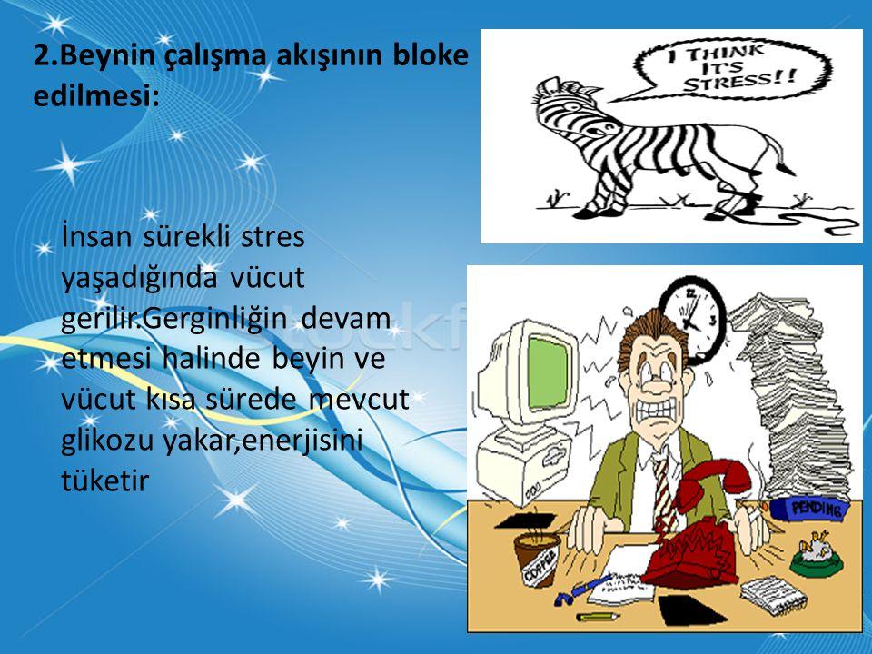 2.Beynin çalışma akışının bloke edilmesi: İnsan sürekli stres yaşadığında vücut gerilir.Gerginliğin devam etmesi halinde beyin ve vücut kısa sürede mevcut glikozu yakar,enerjisini tüketir