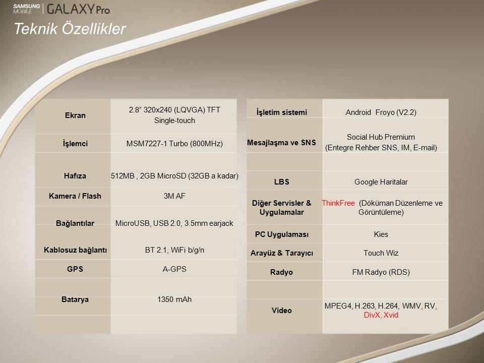 Teknik Özellikler Ekran 2.8 320x240 (LQVGA) TFT Single-touch İşlemciMSM7227-1 Turbo (800MHz) Hafıza512MB, 2GB MicroSD (32GB a kadar) Kamera / Flash3M AF BağlantılarMicroUSB, USB 2.0, 3.5mm earjack Kablosuz bağlantıBT 2.1, WiFi b/g/n GPSA-GPS Batarya1350 mAh İşletim sistemiAndroid Froyo (V2.2) Mesajlaşma ve SNS Social Hub Premium (Entegre Rehber SNS, IM, E-mail) LBSGoogle Haritalar Diğer Servisler & Uygulamalar ThinkFree (Döküman Düzenleme ve Görüntüleme) PC UygulamasıKies Arayüz & TarayıcıTouch Wiz RadyoFM Radyo (RDS) Video MPEG4, H.263, H.264, WMV, RV, DivX, Xvid