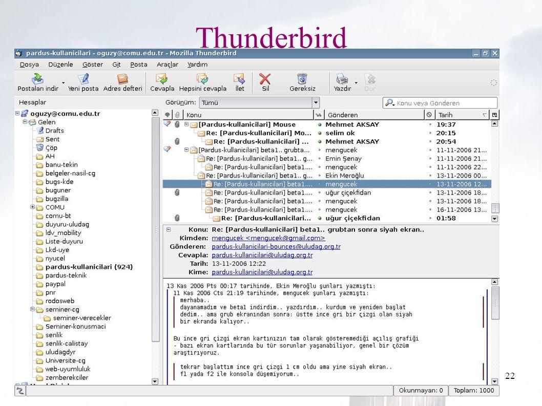 oguzy ~ comu.edu.tr22 Thunderbird