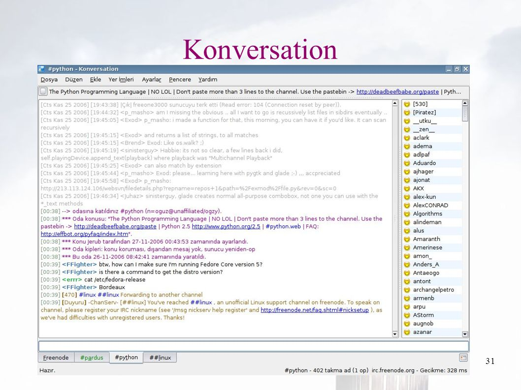 oguzy ~ comu.edu.tr31 Konversation