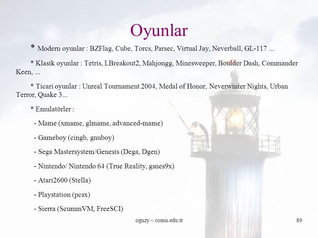 oguzy ~ comu.edu.tr89 * Modern oyunlar : BZFlag, Cube, Torcs, Parsec, Virtual Jay, Neverball, GL-117...