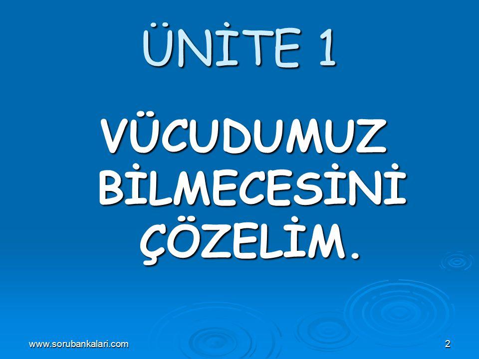 www.sorubankalari.com2 ÜNİTE 1 VÜCUDUMUZ BİLMECESİNİ ÇÖZELİM.