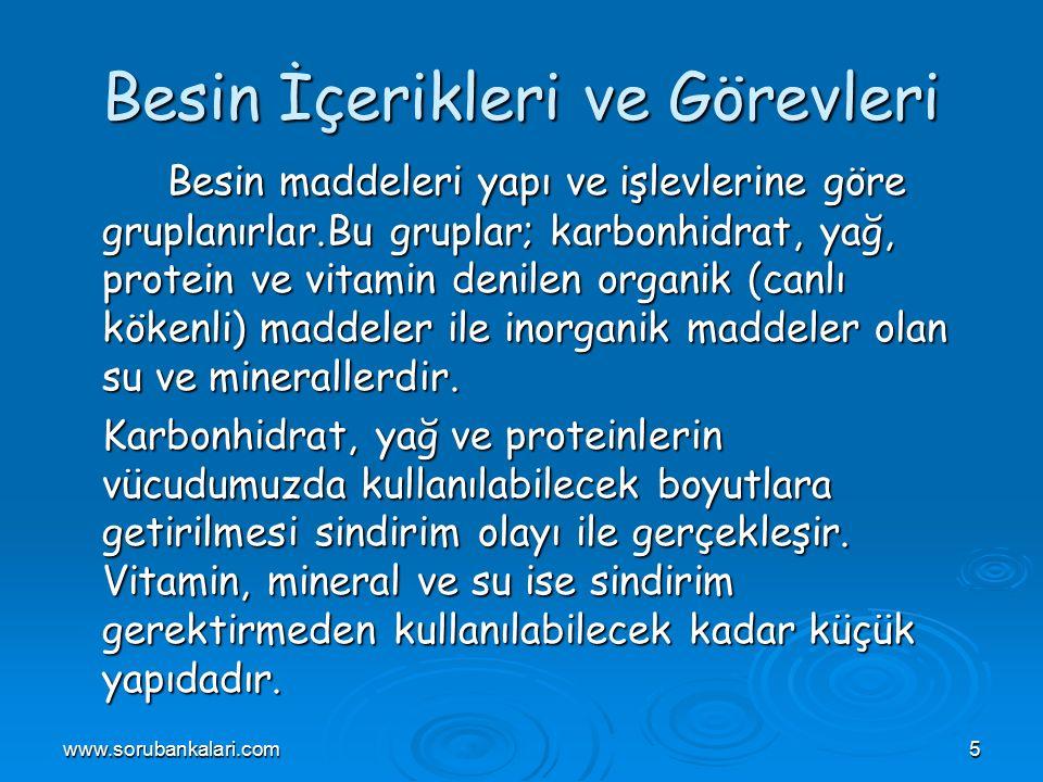 www.sorubankalari.com16 Besinlerdeki yağlar iki farklı türde bulunur.