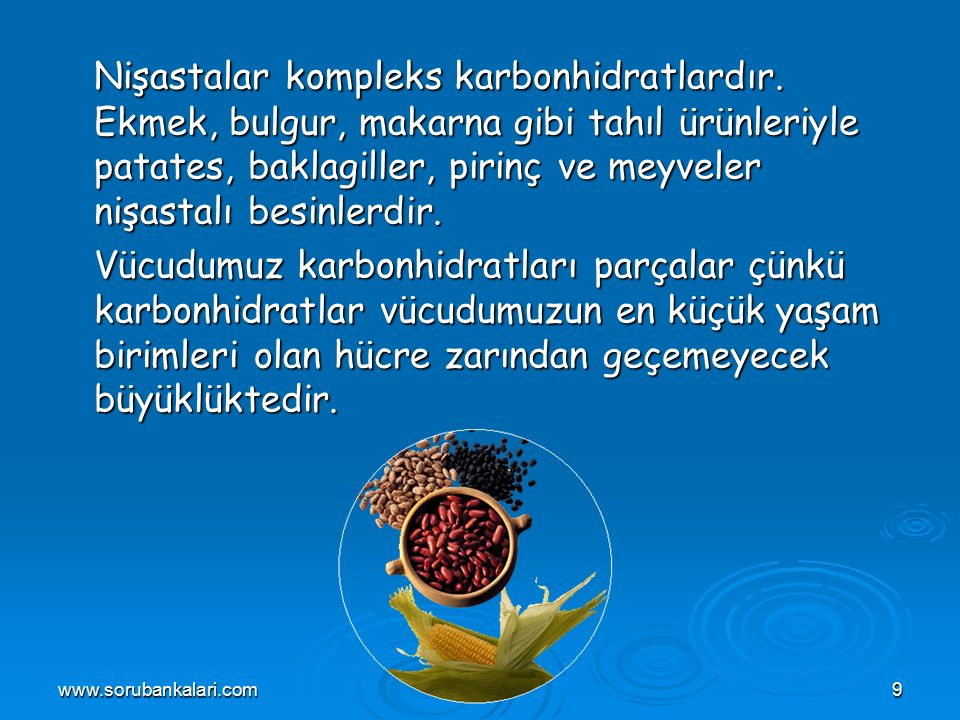 www.sorubankalari.com10 Vücudumuz enerji gereksiniminin çoğunu kompleks karbonhidratları parçalayarak karşılar.