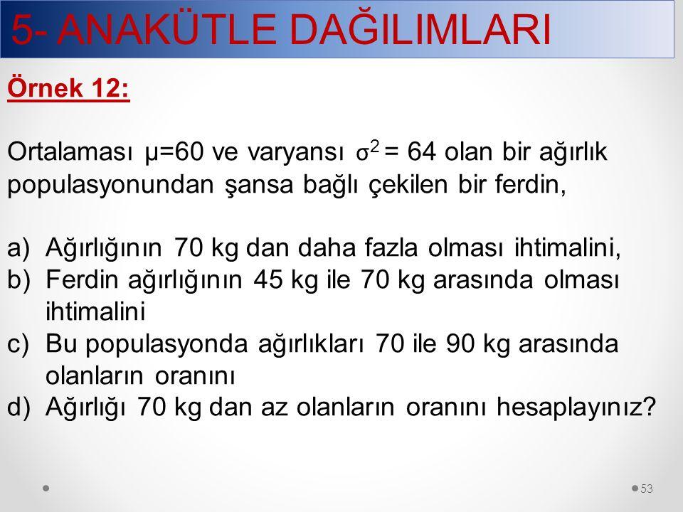 5- ANAKÜTLE DAĞILIMLARI 53 Örnek 12: Ortalaması µ=60 ve varyansı σ 2 = 64 olan bir ağırlık populasyonundan şansa bağlı çekilen bir ferdin, a)Ağırlığın