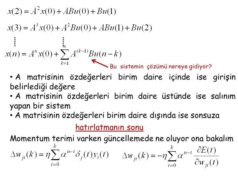 Billings sistemi test sonuçları o- gerçek değer *- ağın çıkışı Mahmut Meral, Lisans Bitirme Ödevi, 2003