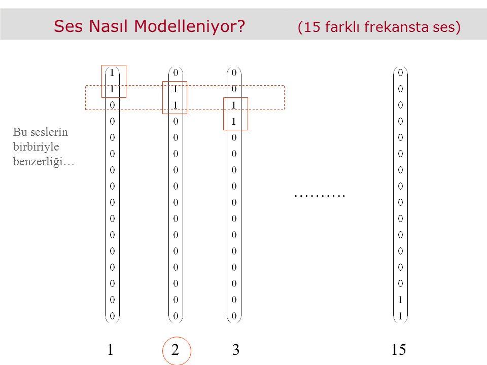 Ses Nasıl Modelleniyor? (15 farklı frekansta ses) ………. Bu seslerin birbiriyle benzerliği… 12315