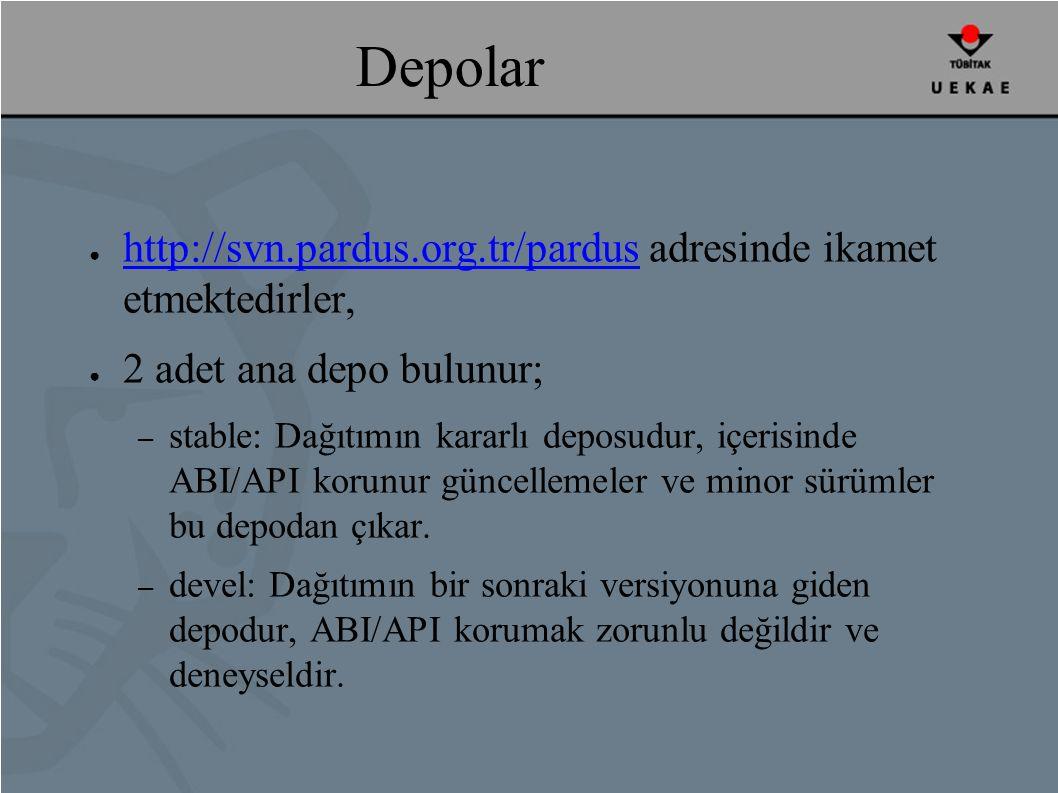 Depolar ● http://svn.pardus.org.tr/pardus adresinde ikamet etmektedirler, http://svn.pardus.org.tr/pardus ● 2 adet ana depo bulunur; – stable: Dağıtımın kararlı deposudur, içerisinde ABI/API korunur güncellemeler ve minor sürümler bu depodan çıkar.