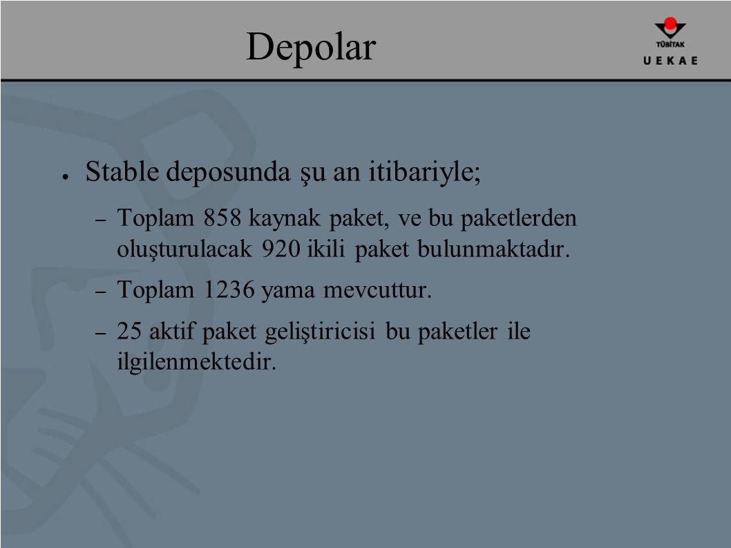 Depolar ● Stable deposunda şu an itibariyle; – Toplam 858 kaynak paket, ve bu paketlerden oluşturulacak 920 ikili paket bulunmaktadır.